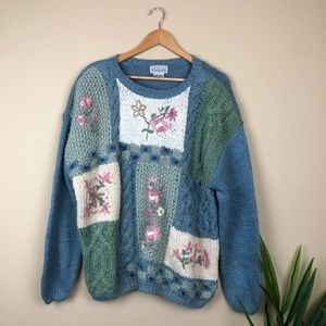 Vintage Patchwork Floral Cable-knit Sweater